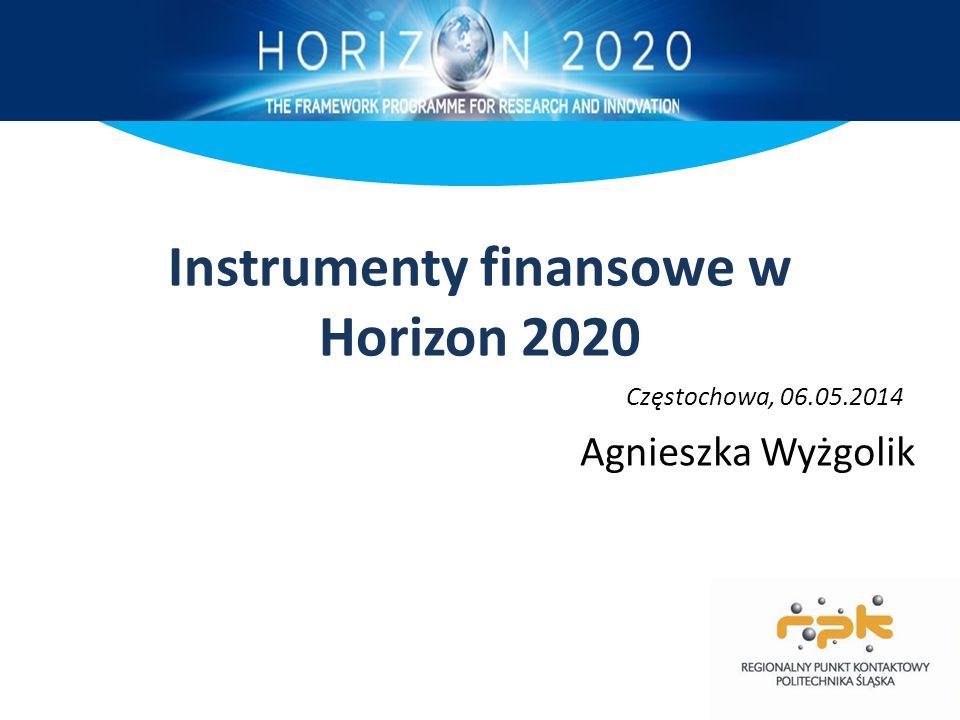 Instrumenty finansowe w Horizon 2020 Agnieszka Wyżgolik Częstochowa, 06.05.2014