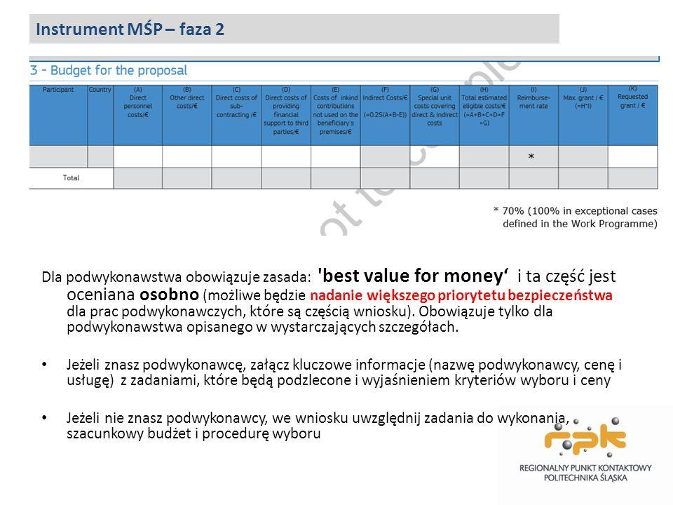 Dla podwykonawstwa obowiązuje zasada: 'best value for money' i ta część jest oceniana osobno (możliwe będzie nadanie większego priorytetu bezpieczeńst