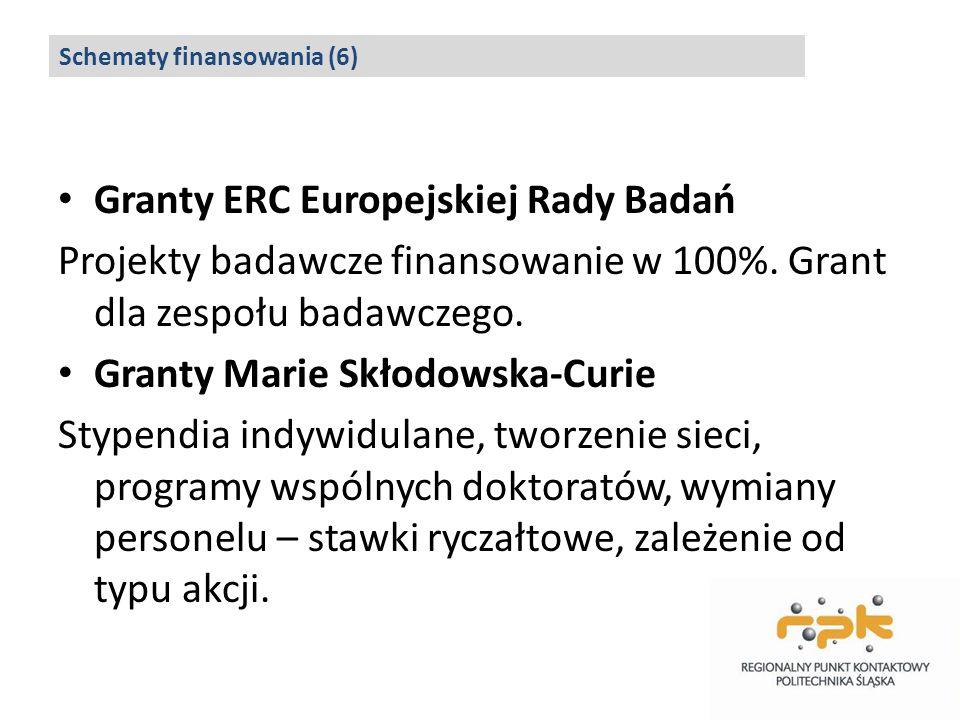 Granty ERC Europejskiej Rady Badań Projekty badawcze finansowanie w 100%. Grant dla zespołu badawczego. Granty Marie Skłodowska-Curie Stypendia indywi