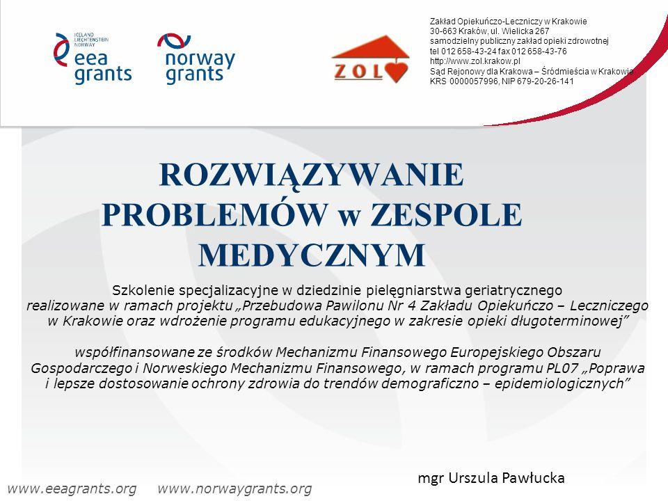 Samospełniająca się przepowiednia:  nasze samopoczucie i potencjał życiowy zależy wprost proporcjonalnie od stopnia w jakim czujemy, że kierujemy i mamy wpływ na własne życie Zakład Opiekuńczo-Leczniczy w Krakowie 30-663 Kraków, ul.