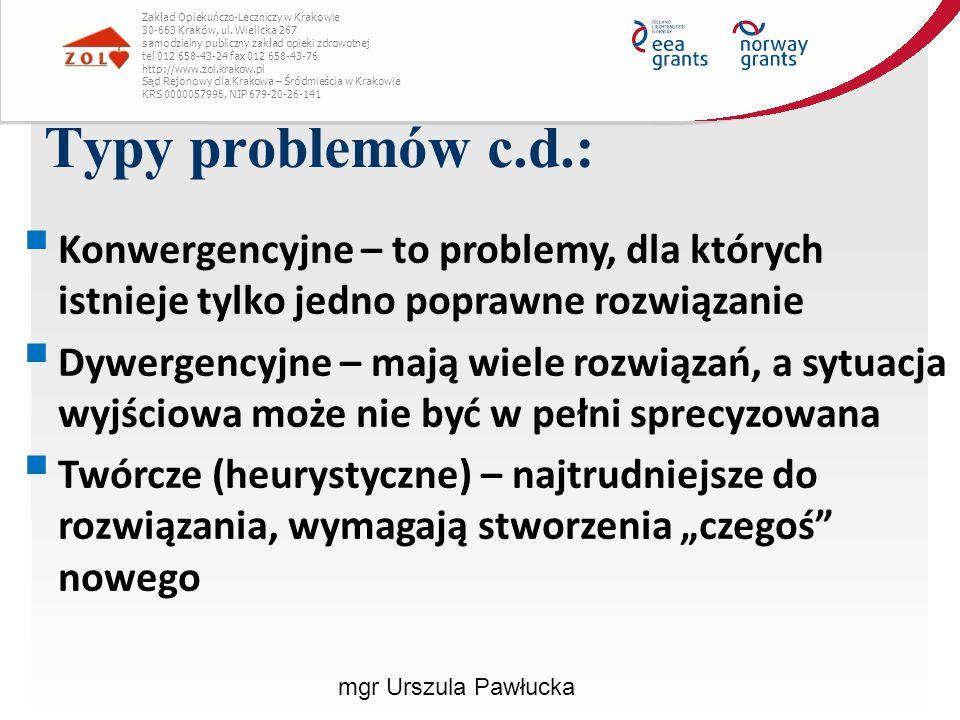 Konflikt relacji:  Związany jest z silnymi, trudnymi emocjami przeżywanymi w relacji z daną osobą  Przyczyną mogą być stereotypy, zła komunikacja, silne emocje, błędne spostrzeganie  Może pojawiać się nawet wówczas, gdy nie ma obiektywnych powodów do konfliktu  Ten typ konfliktu narasta jeśli nie jest natychmiast rozwiązywany Zakład Opiekuńczo-Leczniczy w Krakowie 30-663 Kraków, ul.