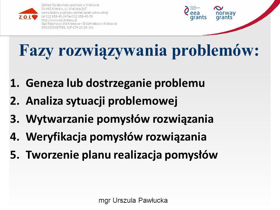 1.Geneza/dostrzeganie problemu:  Identyfikacja i wybór problemu do rozwiązania - umiejętność dostrzegania i określenia problemów jest podstawą ich sprawnego rozwiązania  Ocena aktualnej sytuacji  Ustalenie celów Zakład Opiekuńczo-Leczniczy w Krakowie 30-663 Kraków, ul.