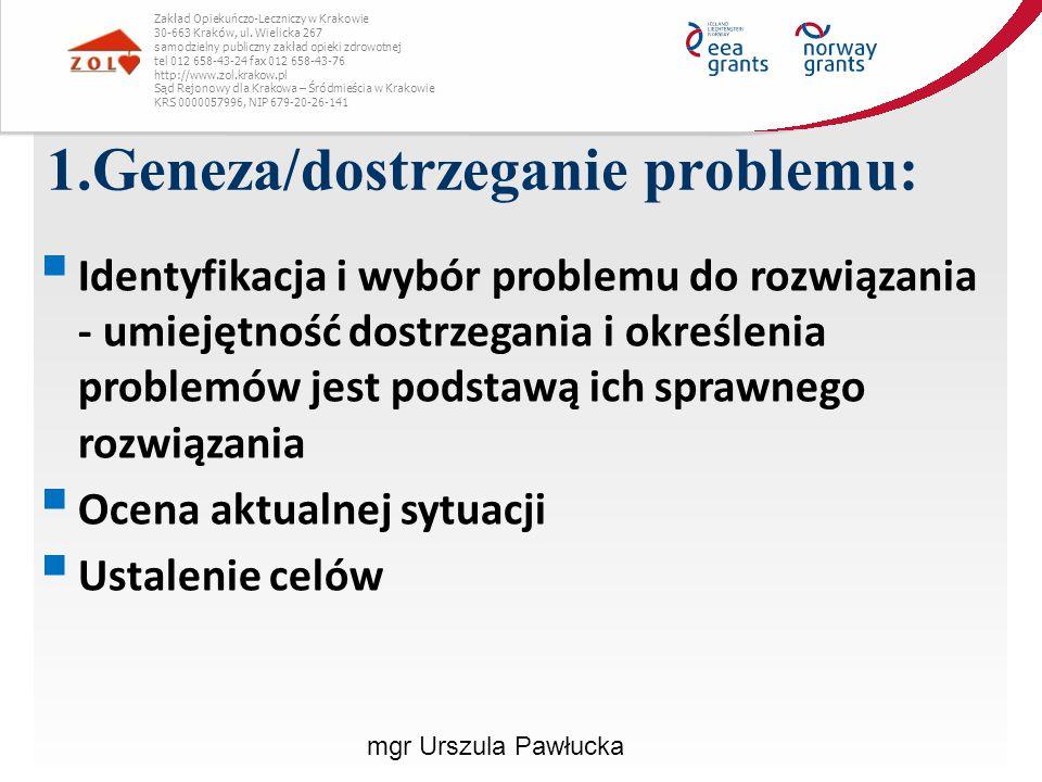 2.Analiza sytuacji problemowej:  zebranie danych na temat okoliczności występowania problemu  Identyfikacja przyczyn wystąpienia problemu (wieloaspektowość)  Metoda 5 WHY.