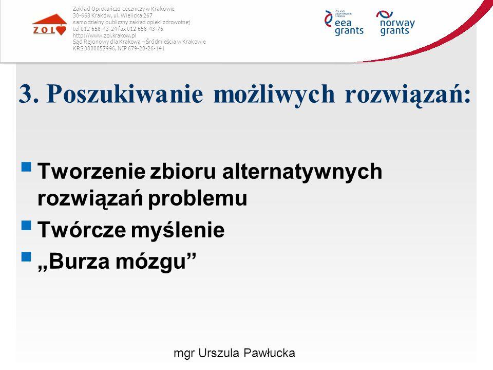 Sposoby radzenia sobie z konfliktem  Odwołanie się do trzeciej strony, aby rozstrzygnęła po czyjej stronie jest racja: - Odwołanie się do arbitra, aby rozstrzygnął spór - Wystąpienie na drogę prawną Zakład Opiekuńczo-Leczniczy w Krakowie 30-663 Kraków, ul.