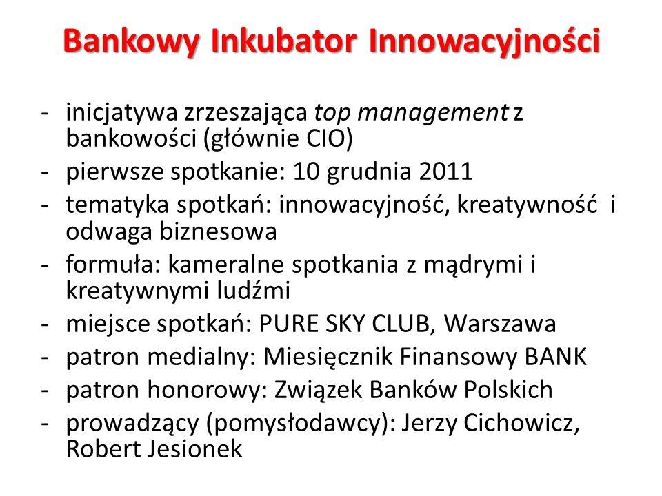 Bankowy Inkubator Innowacyjności -inicjatywa zrzeszająca top management z bankowości (głównie CIO) -pierwsze spotkanie: 10 grudnia 2011 -tematyka spot