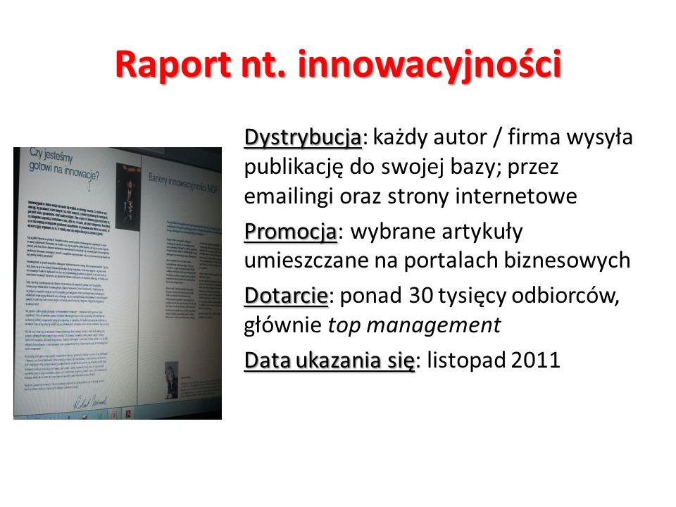 Raport nt. innowacyjności Dystrybucja Dystrybucja: każdy autor / firma wysyła publikację do swojej bazy; przez emailingi oraz strony internetowe Promo