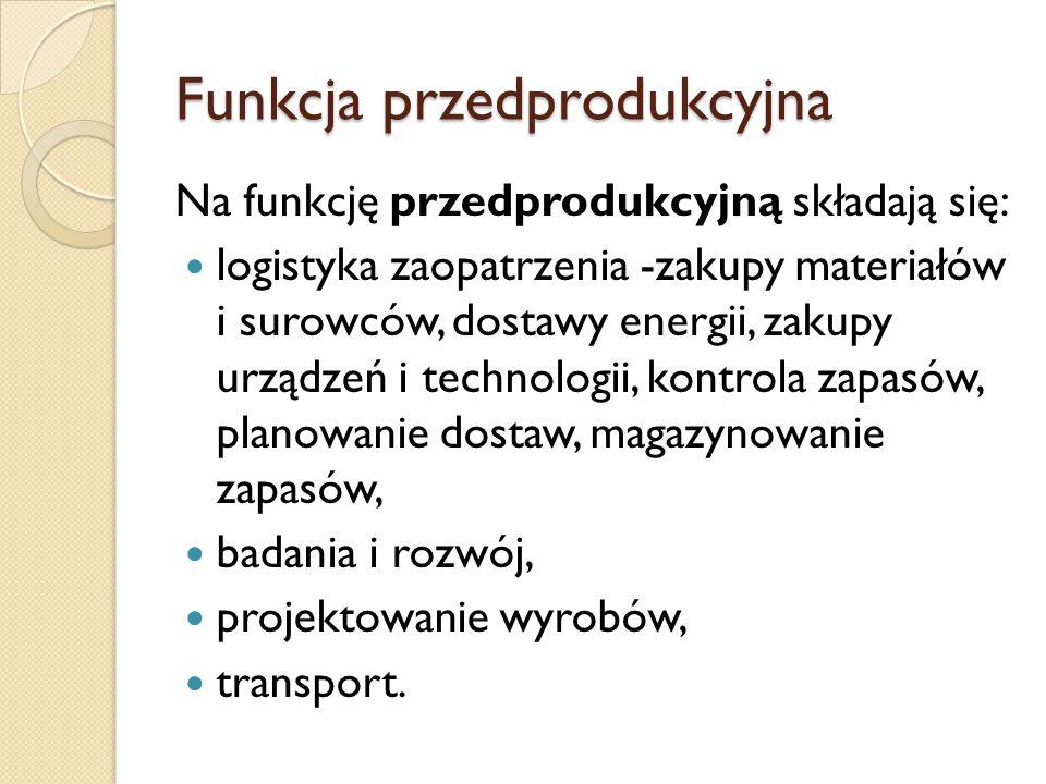 Funkcja przedprodukcyjna Na funkcję przedprodukcyjną składają się: logistyka zaopatrzenia -zakupy materiałów i surowców, dostawy energii, zakupy urząd
