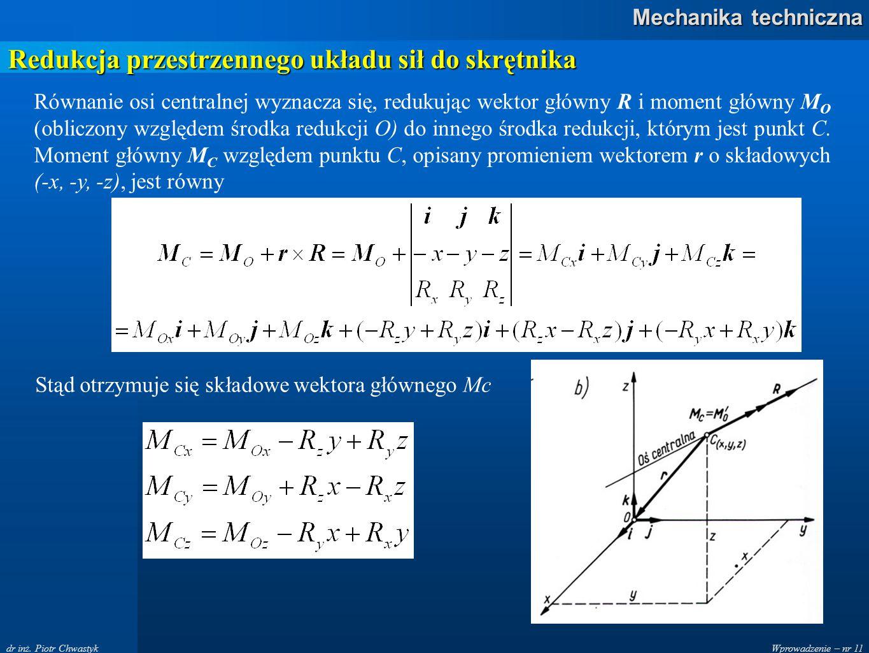 Wprowadzenie – nr 11 Mechanika techniczna dr inż. Piotr Chwastyk Redukcja przestrzennego układu sił do skrętnika Równanie osi centralnej wyznacza się,