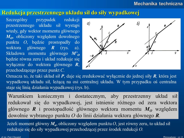 Wprowadzenie – nr 13 Mechanika techniczna dr inż. Piotr Chwastyk Redukcja przestrzennego układu sił do siły wypadkowej Szczególny przypadek redukcji p