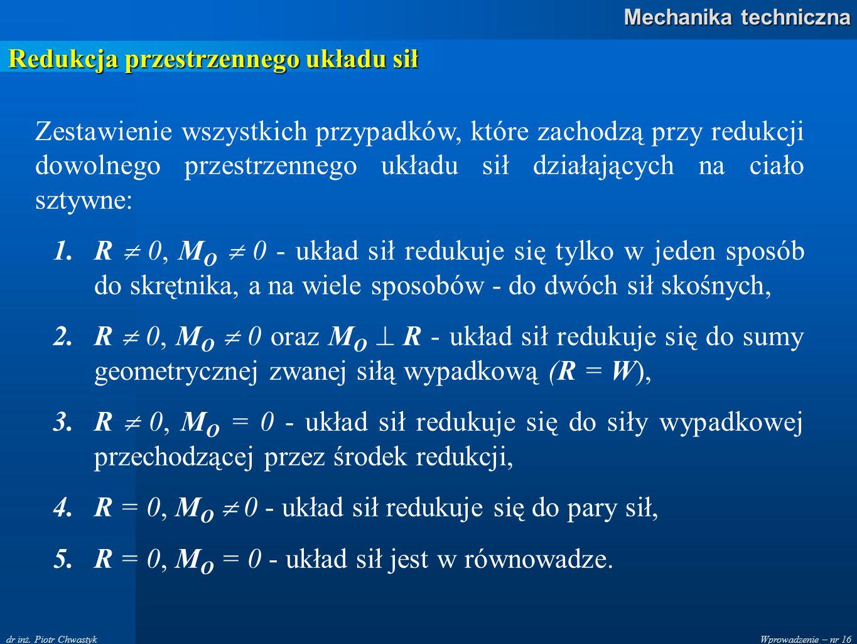 Wprowadzenie – nr 16 Mechanika techniczna dr inż. Piotr Chwastyk Redukcja przestrzennego układu sił Zestawienie wszystkich przypadków, które zachodzą