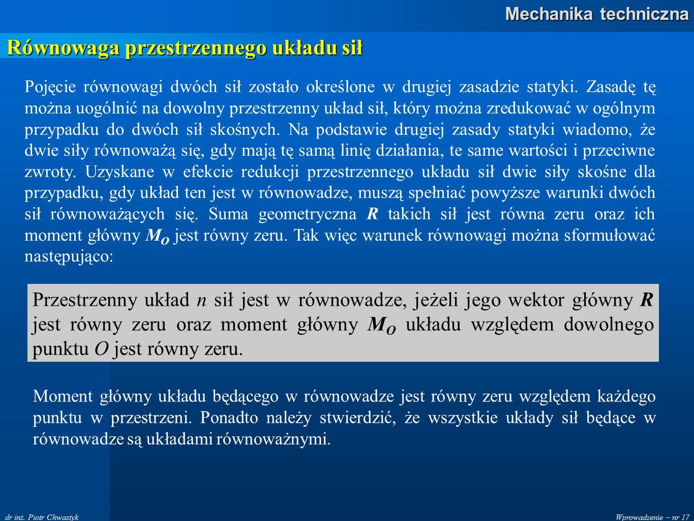 Wprowadzenie – nr 17 Mechanika techniczna dr inż. Piotr Chwastyk Równowaga przestrzennego układu sił Pojęcie równowagi dwóch sił zostało określone w d