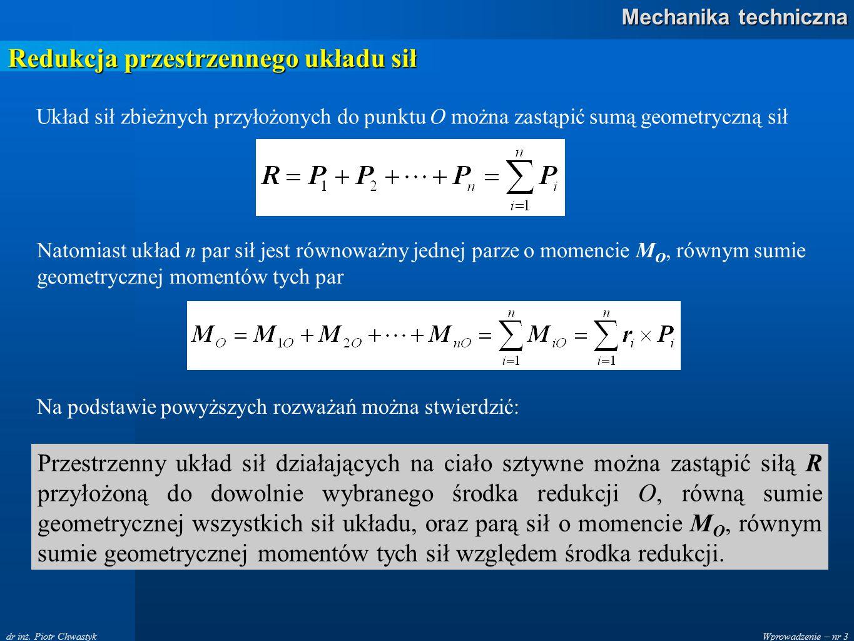 Wprowadzenie – nr 3 Mechanika techniczna dr inż. Piotr Chwastyk Redukcja przestrzennego układu sił Układ sił zbieżnych przyłożonych do punktu O można