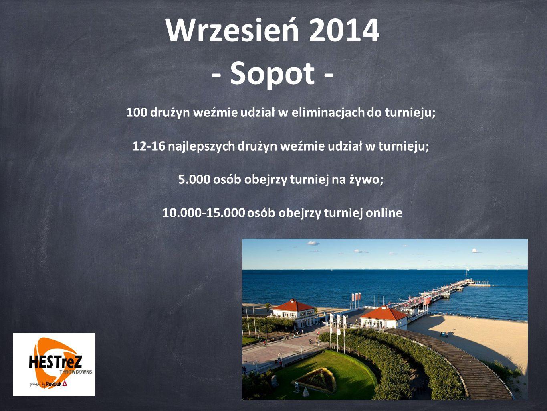 Wrzesień 2014 - Sopot - 100 drużyn weźmie udział w eliminacjach do turnieju; 12-16 najlepszych drużyn weźmie udział w turnieju; 5.000 osób obejrzy turniej na żywo; 10.000-15.000 osób obejrzy turniej online