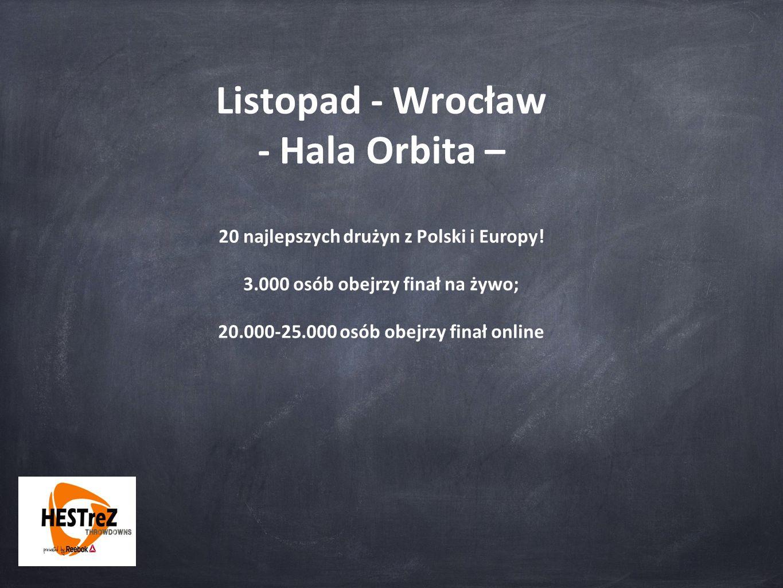 Listopad - Wrocław - Hala Orbita – 20 najlepszych drużyn z Polski i Europy! 3.000 osób obejrzy finał na żywo; 20.000-25.000 osób obejrzy finał online