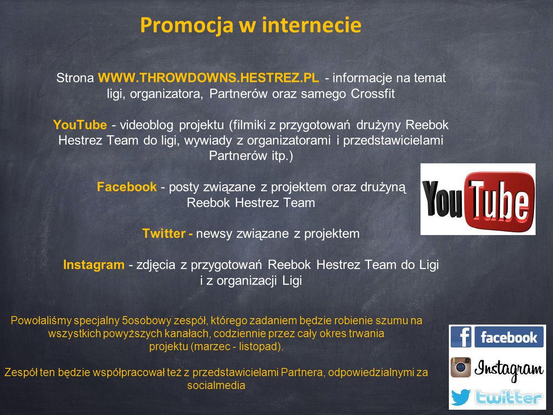 Promocja w internecie Strona WWW.THROWDOWNS.HESTREZ.PL - informacje na temat ligi, organizatora, Partnerów oraz samego Crossfit YouTube - videoblog pr