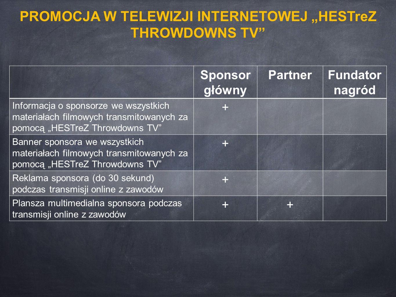 """Sponsor główny PartnerFundator nagród Informacja o sponsorze we wszystkich materiałach filmowych transmitowanych za pomocą """"HESTreZ Throwdowns TV"""" + B"""