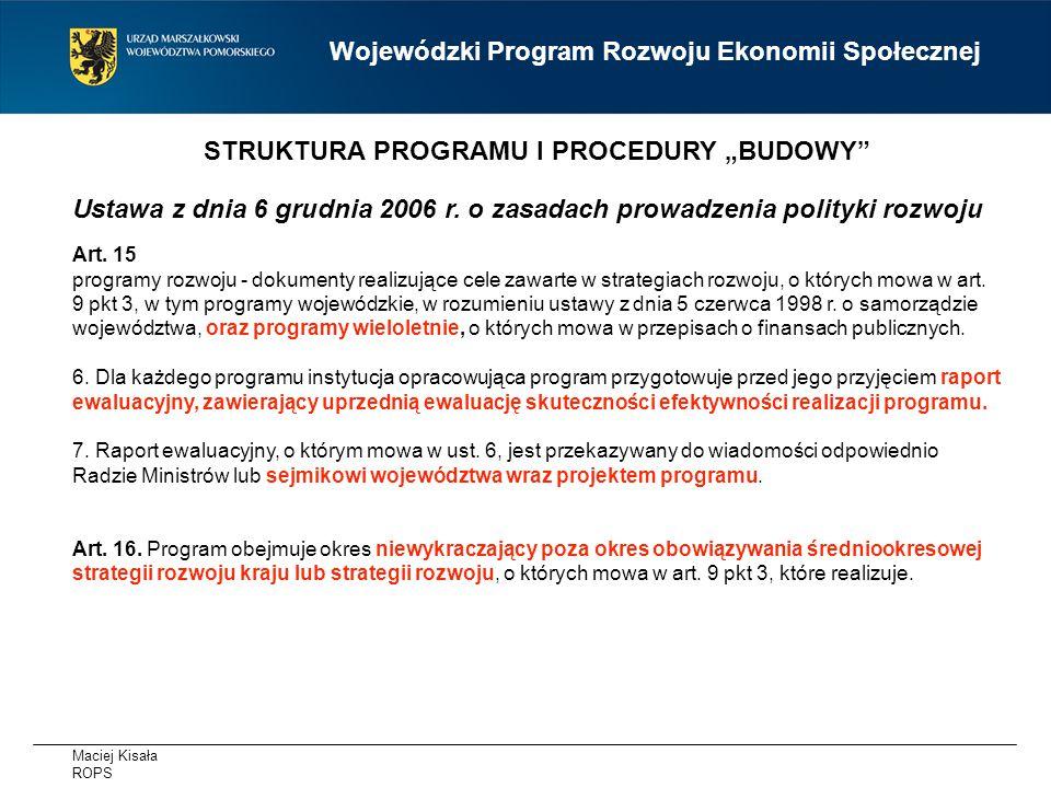 Maciej Kisała ROPS Wojewódzki Program Rozwoju Ekonomii Społecznej Ustawa z dnia 6 grudnia 2006 r.