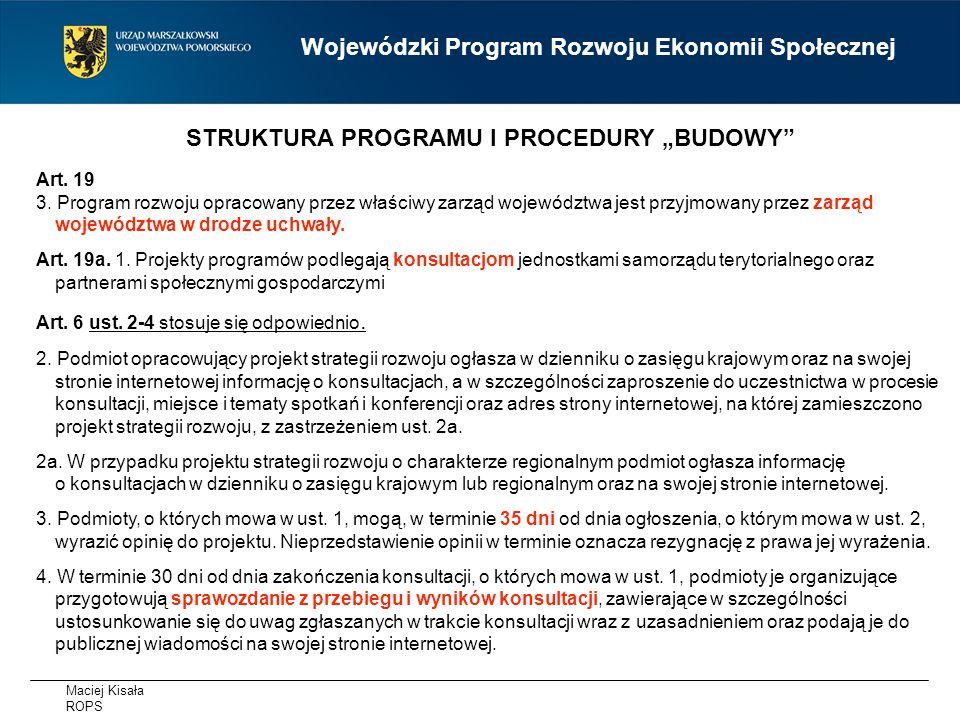 Maciej Kisała ROPS Wojewódzki Program Rozwoju Ekonomii Społecznej Art.