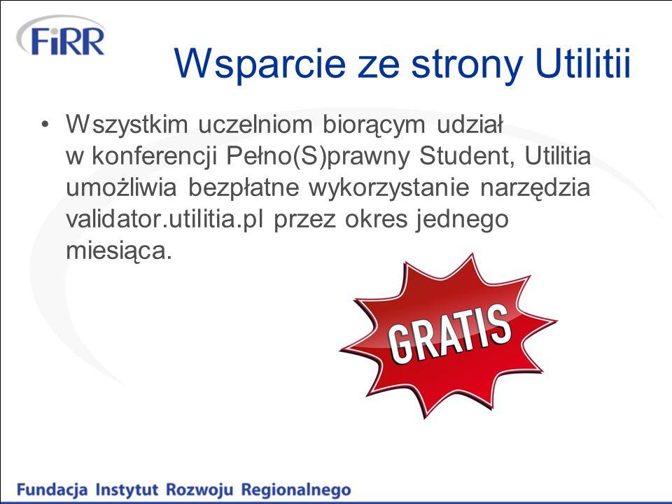 Wszystkim uczelniom biorącym udział w konferencji Pełno(S)prawny Student, Utilitia umożliwia bezpłatne wykorzystanie narzędzia validator.utilitia.pl przez okres jednego miesiąca.