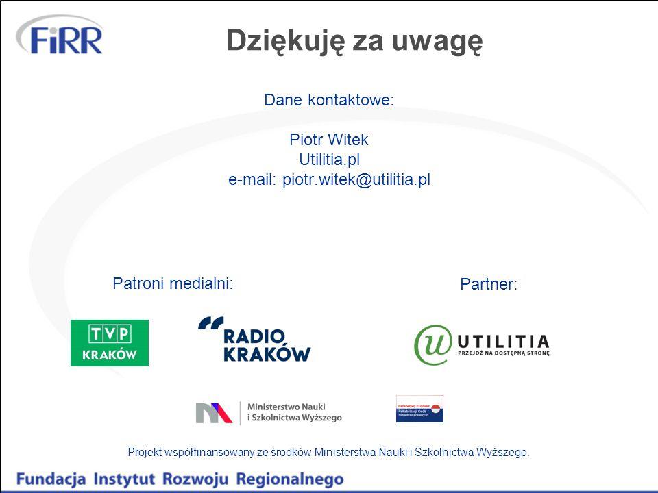 Dziękuję za uwagę Dane kontaktowe: Piotr Witek Utilitia.pl e-mail: piotr.witek@utilitia.pl Projekt współfinansowany ze środków Ministerstwa Nauki i Szkolnictwa Wyższego.