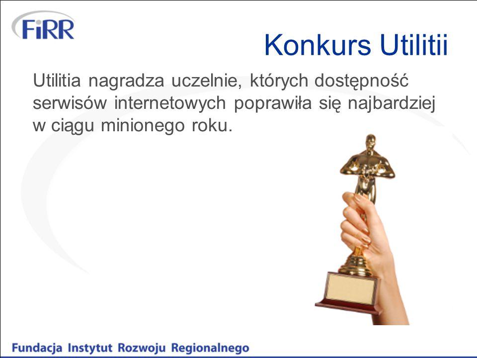 Konkurs Utilitii Utilitia nagradza uczelnie, których dostępność serwisów internetowych poprawiła się najbardziej w ciągu minionego roku.