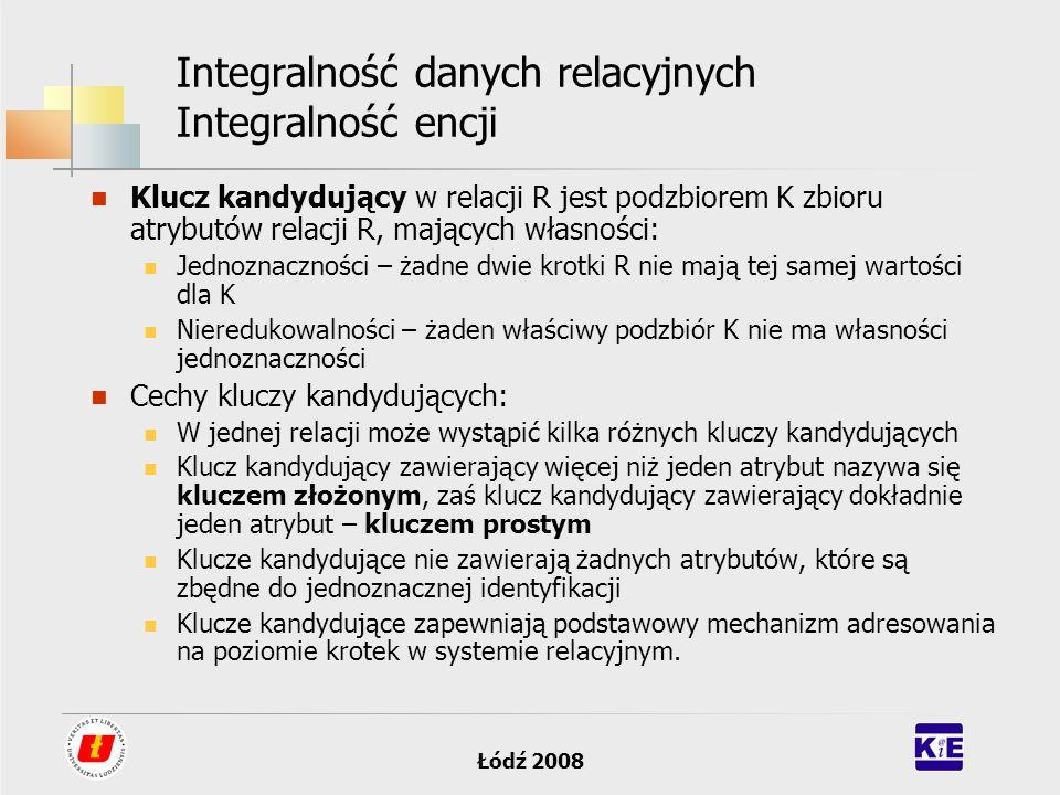 Łódź 2008 Integralność danych relacyjnych Integralność encji Klucz kandydujący w relacji R jest podzbiorem K zbioru atrybutów relacji R, mających włas