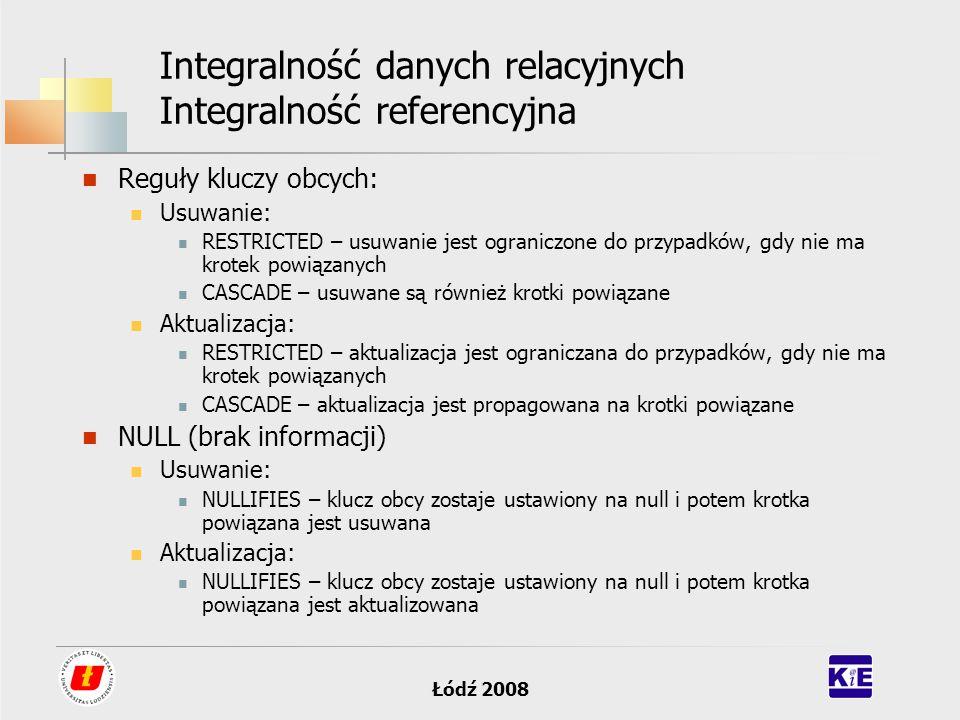 Łódź 2008 Integralność danych relacyjnych Integralność referencyjna Reguły kluczy obcych: Usuwanie: RESTRICTED – usuwanie jest ograniczone do przypadk