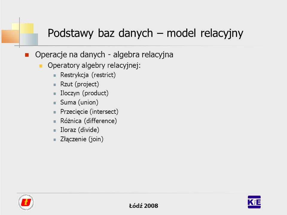 Łódź 2008 Podstawy baz danych – model relacyjny Operacje na danych - algebra relacyjna Operatory algebry relacyjnej: Restrykcja (restrict) Rzut (proje