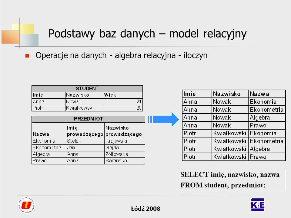 Łódź 2008 Podstawy baz danych – model relacyjny Operacje na danych - algebra relacyjna - iloczyn SELECT imię, nazwisko, nazwa FROM student, przedmiot;