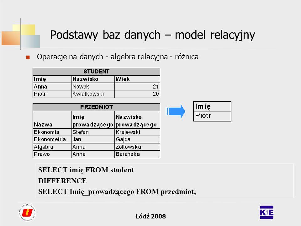 Łódź 2008 Podstawy baz danych – model relacyjny Operacje na danych - algebra relacyjna - różnica SELECT imię FROM student DIFFERENCE SELECT Imię_prowa