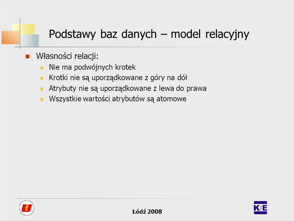 Łódź 2008 Podstawy baz danych – model relacyjny Własności relacji: Nie ma podwójnych krotek Krotki nie są uporządkowane z góry na dół Atrybuty nie są
