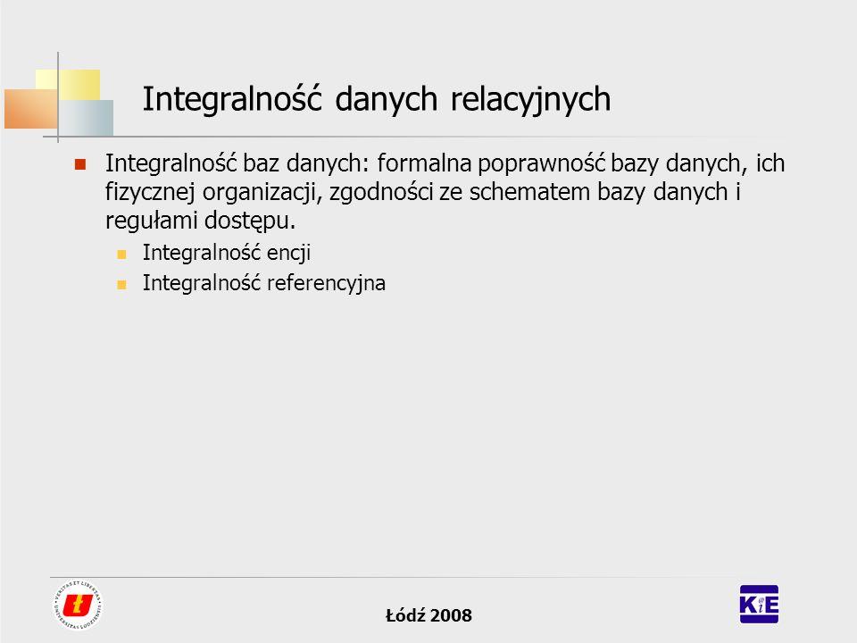 Łódź 2008 Integralność danych relacyjnych Integralność baz danych: formalna poprawność bazy danych, ich fizycznej organizacji, zgodności ze schematem