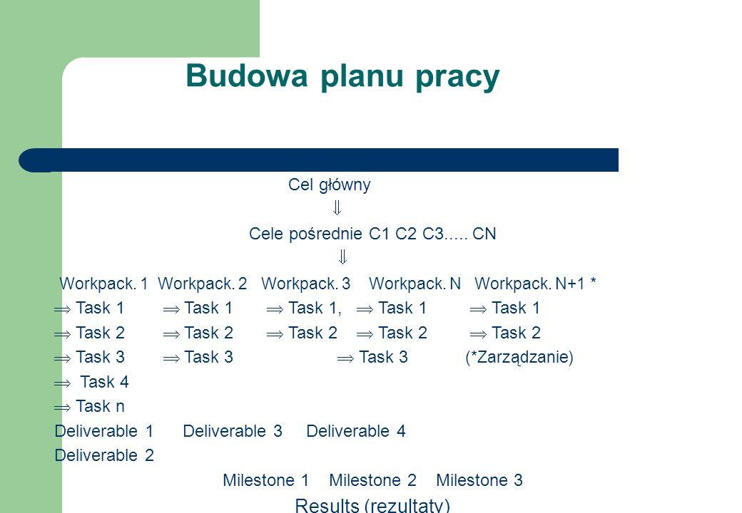 Budowa planu pracy Cel główny  Cele pośrednie C1 C2 C3.....