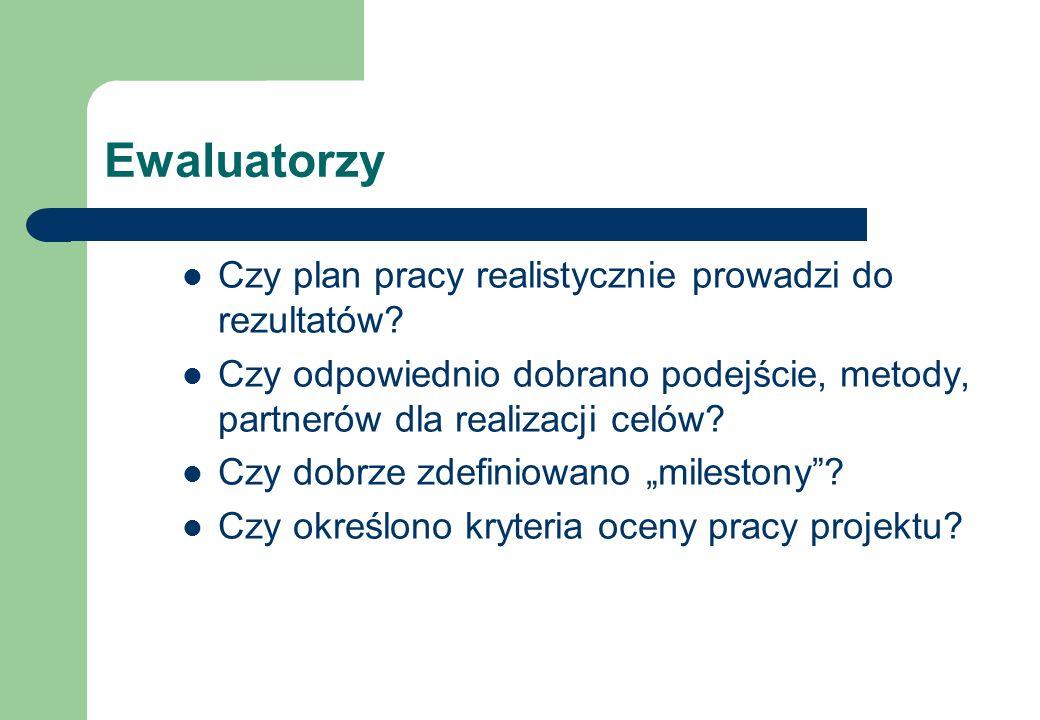 Ewaluatorzy Czy plan pracy realistycznie prowadzi do rezultatów.