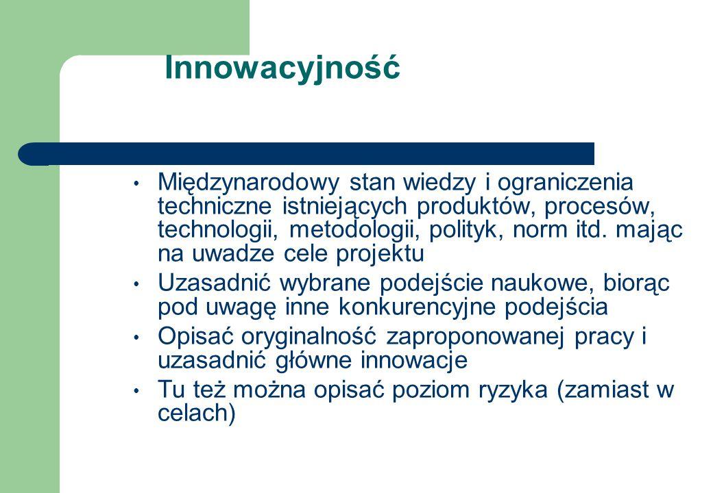 Innowacyjność Międzynarodowy stan wiedzy i ograniczenia techniczne istniejących produktów, procesów, technologii, metodologii, polityk, norm itd.