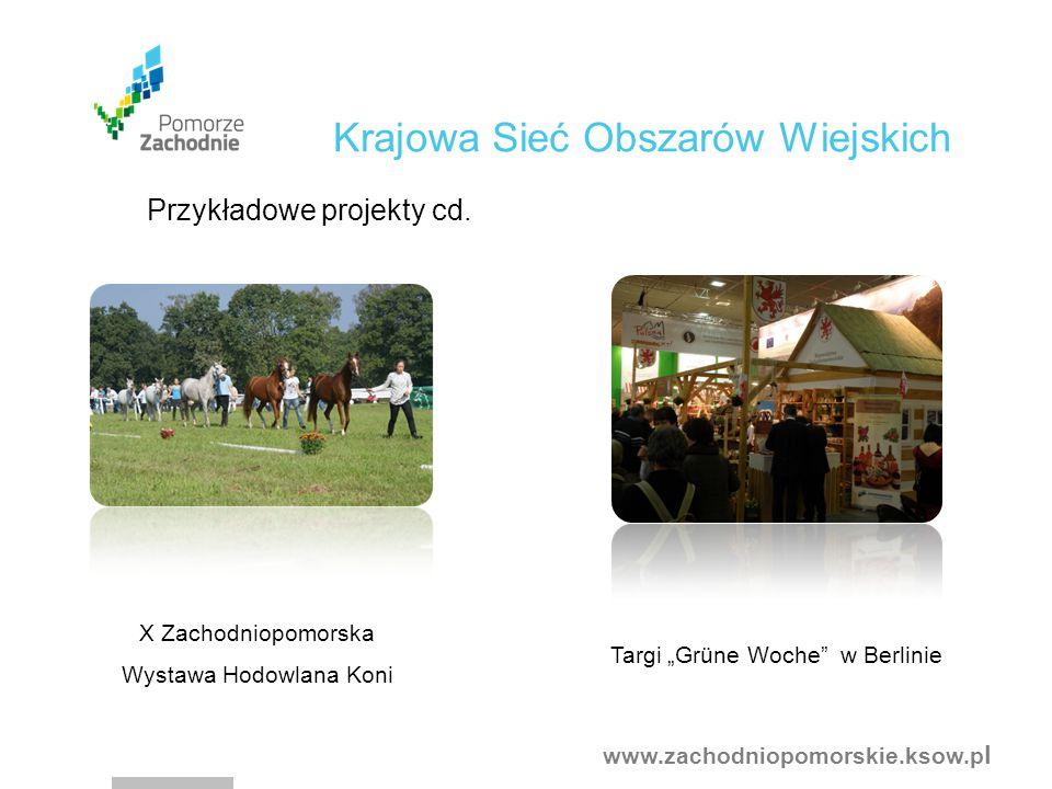 """www.zachodniopomorskie.ksow.p l X Zachodniopomorska Wystawa Hodowlana Koni Targi """"Grüne Woche w Berlinie Krajowa Sieć Obszarów Wiejskich Przykładowe projekty cd."""