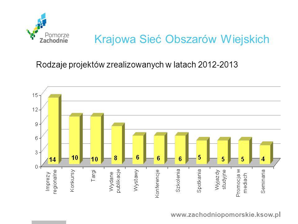 www.zachodniopomorskie.ksow.p l Rodzaje projektów zrealizowanych w latach 2012-2013 Krajowa Sieć Obszarów Wiejskich
