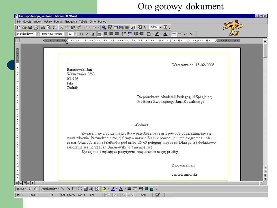 Oto gotowy dokument