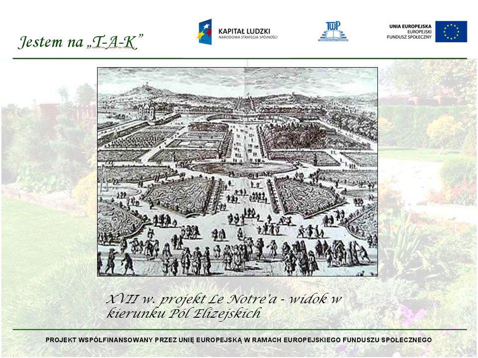 XVII w. projekt Le Notre'a - widok w kierunku Pól Elizejskich