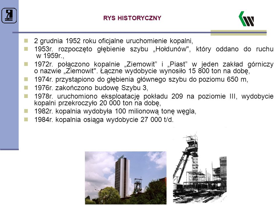 """RYS HISTORYCZNY 2 grudnia 1952 roku oficjalne uruchomienie kopalni, 1953r. rozpoczęto głębienie szybu """"Hołdunów"""