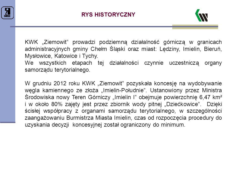 """RYS HISTORYCZNY KWK """"Ziemowit"""" prowadzi podziemną działalność górniczą w granicach administracyjnych gminy Chełm Śląski oraz miast: Lędziny, Imielin,"""