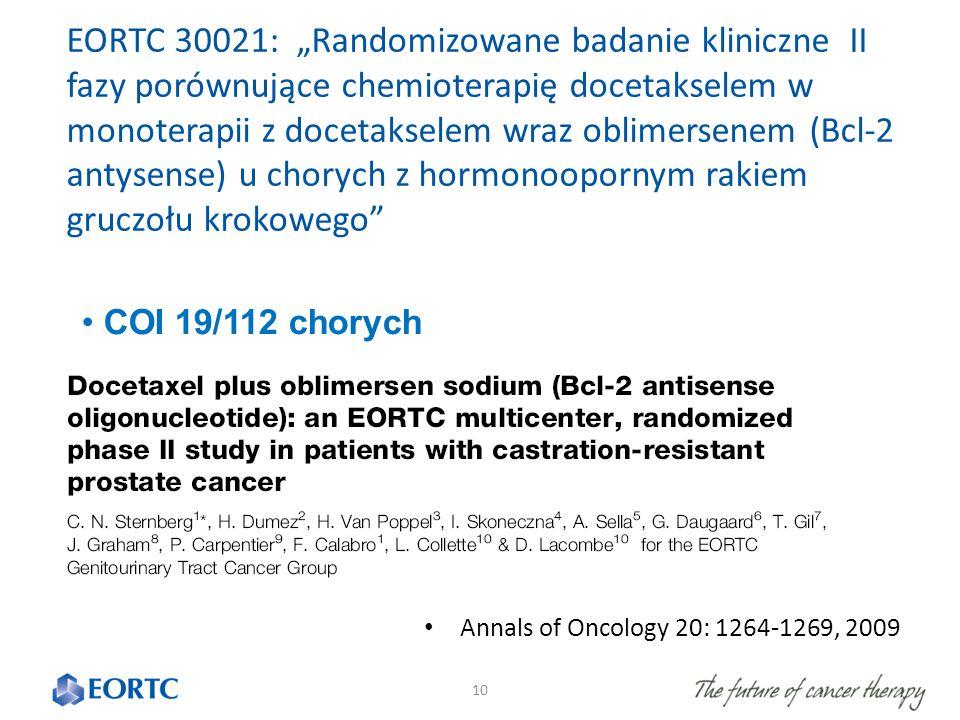 """10 EORTC 30021: """"Randomizowane badanie kliniczne II fazy porównujące chemioterapię docetakselem w monoterapii z docetakselem wraz oblimersenem (Bcl-2 antysense) u chorych z hormonoopornym rakiem gruczołu krokowego COI 19/112 chorych Annals of Oncology 20: 1264-1269, 2009"""