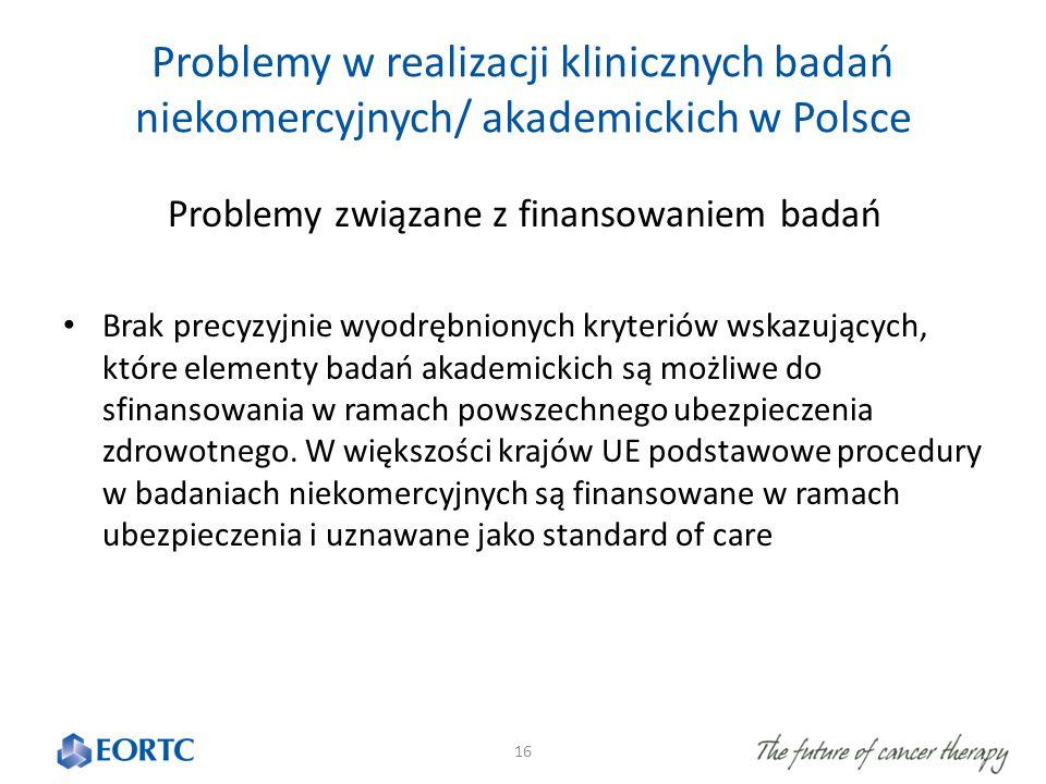 Problemy w realizacji klinicznych badań niekomercyjnych/ akademickich w Polsce Problemy związane z finansowaniem badań Brak precyzyjnie wyodrębnionych kryteriów wskazujących, które elementy badań akademickich są możliwe do sfinansowania w ramach powszechnego ubezpieczenia zdrowotnego.