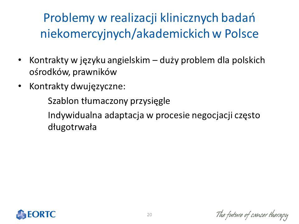 Problemy w realizacji klinicznych badań niekomercyjnych/akademickich w Polsce Kontrakty w języku angielskim – duży problem dla polskich ośrodków, prawników Kontrakty dwujęzyczne: Szablon tłumaczony przysięgle Indywidualna adaptacja w procesie negocjacji często długotrwała 20
