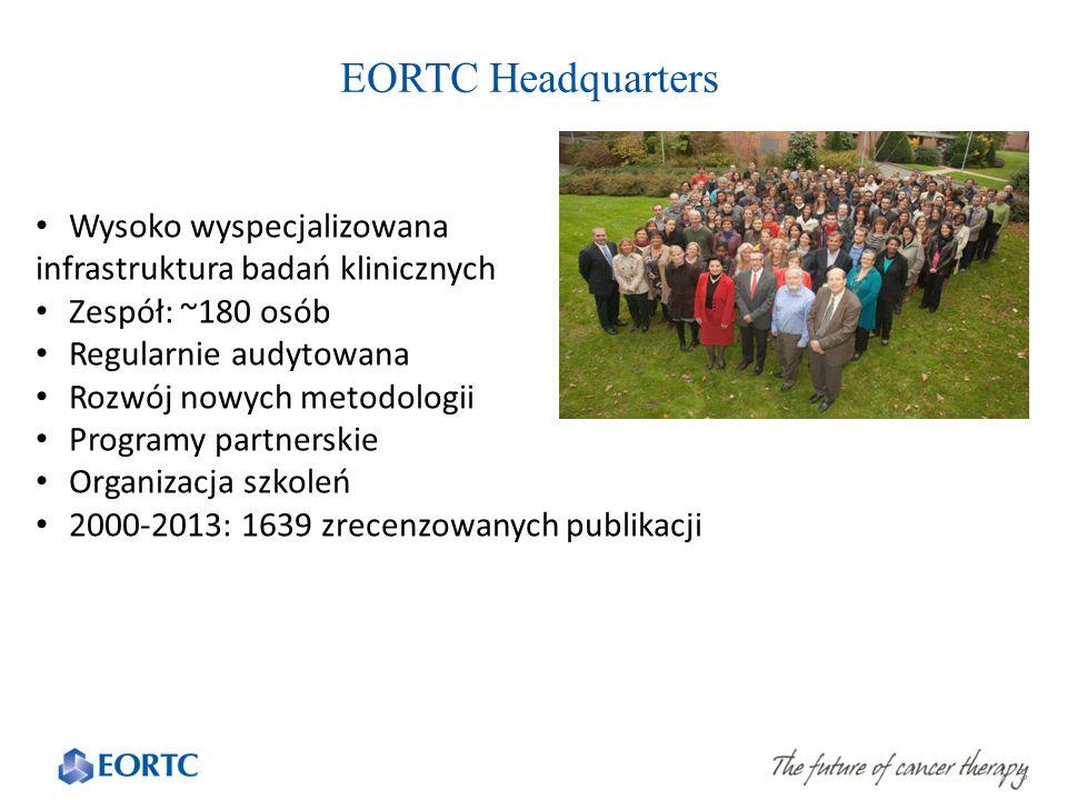 EORTC Headquarters 5 Wysoko wyspecjalizowana infrastruktura badań klinicznych Zespół: ~180 osób Regularnie audytowana Rozwój nowych metodologii Programy partnerskie Organizacja szkoleń 2000-2013: 1639 zrecenzowanych publikacji