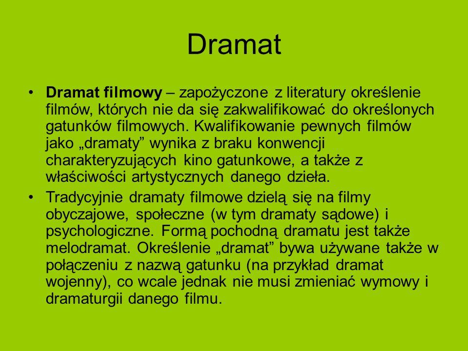 Melodramat Melodramat – gatunek literacki lub filmowy o sensacyjnej fabule, nasyconej patetyczno-sentymentalnymi efektami oraz wątkiem miłosnym.