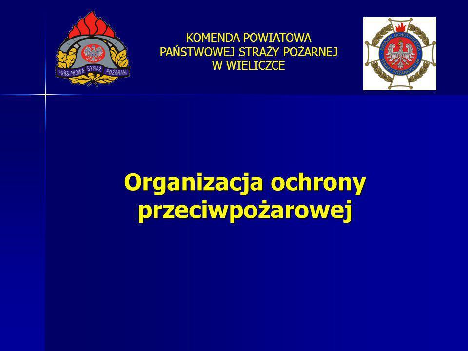 KOMENDA POWIATOWA PAŃSTWOWEJ STRAŻY POŻARNEJ W WIELICZCE Organizacja ochrony przeciwpożarowej