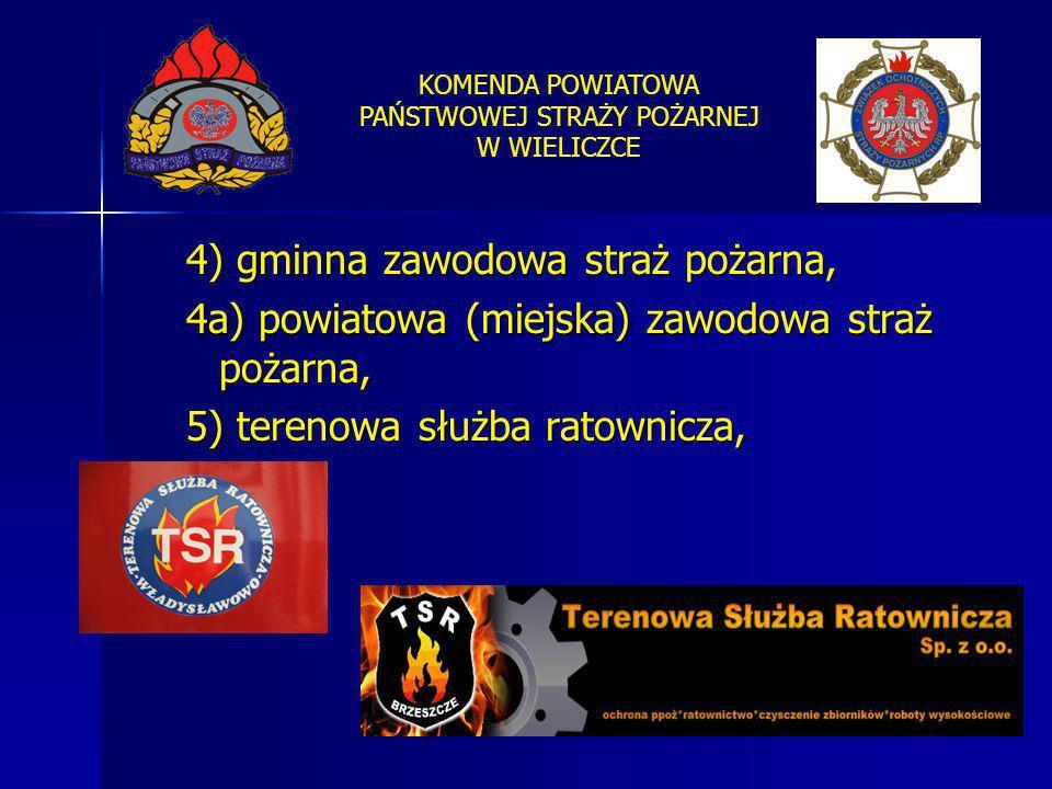 KOMENDA POWIATOWA PAŃSTWOWEJ STRAŻY POŻARNEJ W WIELICZCE 4) gminna zawodowa straż pożarna, 4a) powiatowa (miejska) zawodowa straż pożarna, 5) terenowa