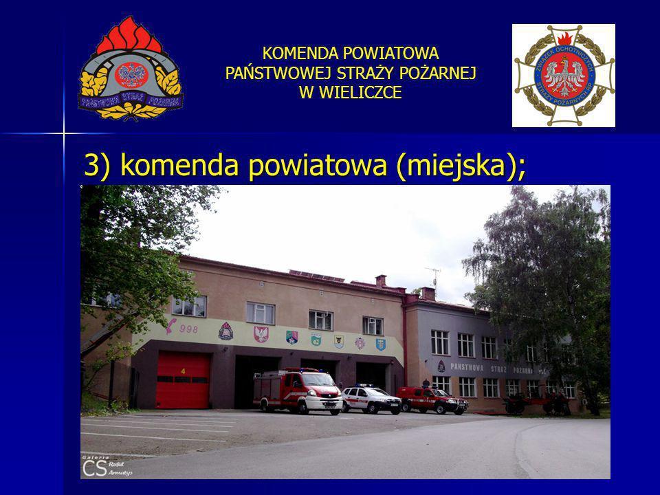 KOMENDA POWIATOWA PAŃSTWOWEJ STRAŻY POŻARNEJ W WIELICZCE 3) komenda powiatowa (miejska);
