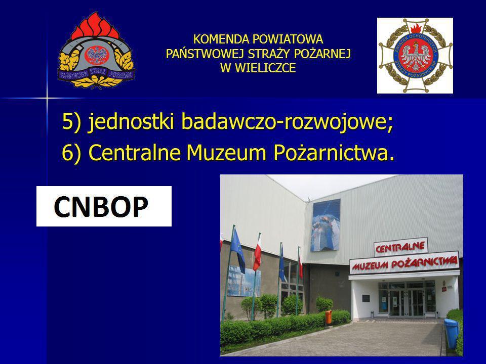 KOMENDA POWIATOWA PAŃSTWOWEJ STRAŻY POŻARNEJ W WIELICZCE 5) jednostki badawczo-rozwojowe; 6) Centralne Muzeum Pożarnictwa.
